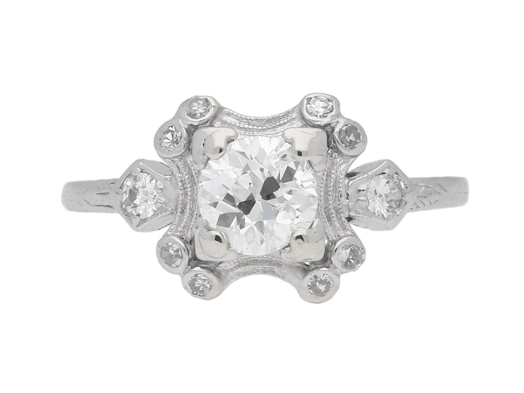 front view Diamond cluster engagement ring, American, circa 1920.