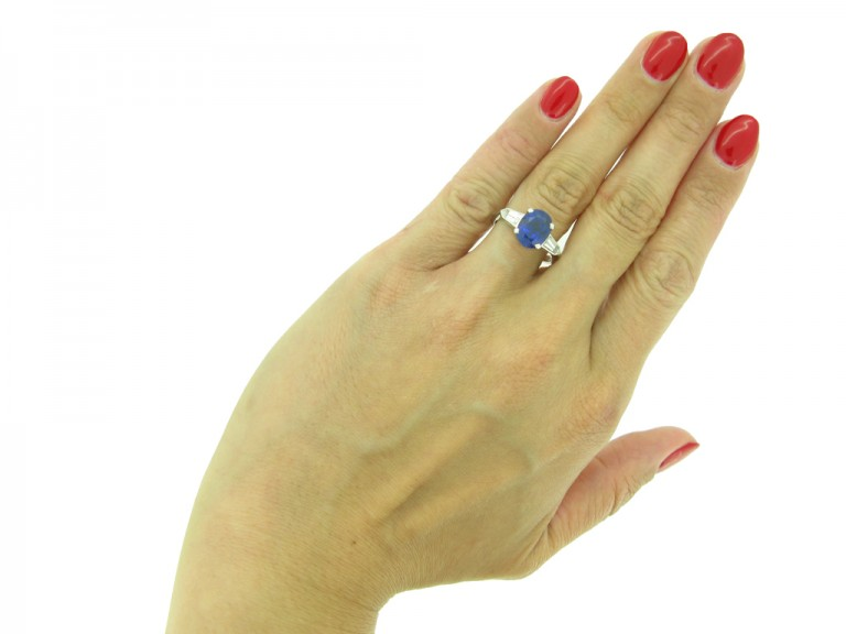 Natural Royal Blue Burmese sapphire and diamond ring, circa 1950.