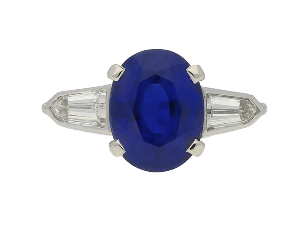 front view Natural 'Royal Blue' Burmese sapphire and diamond ring, circa 1950.
