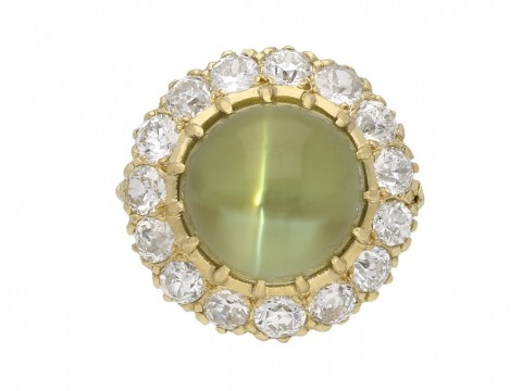 Antique cat's eye chrysoberyl diamond ring berganza hatton garden