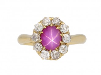 Antique star ruby  diamond ring berganza hatton garden