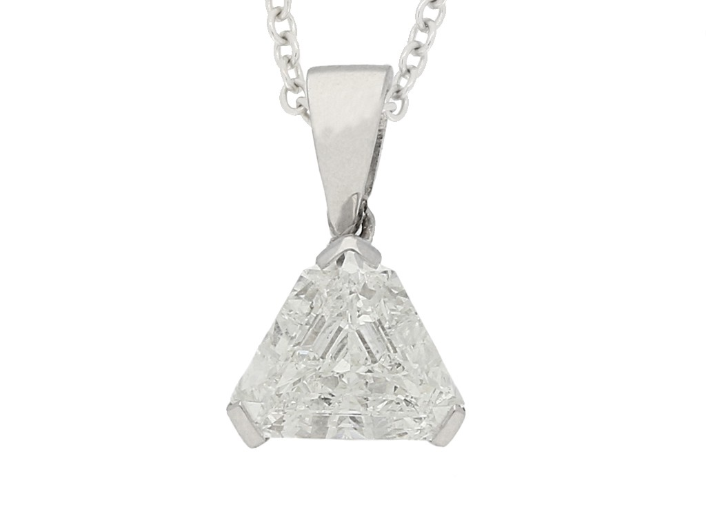 front view Vintage diamond pendant