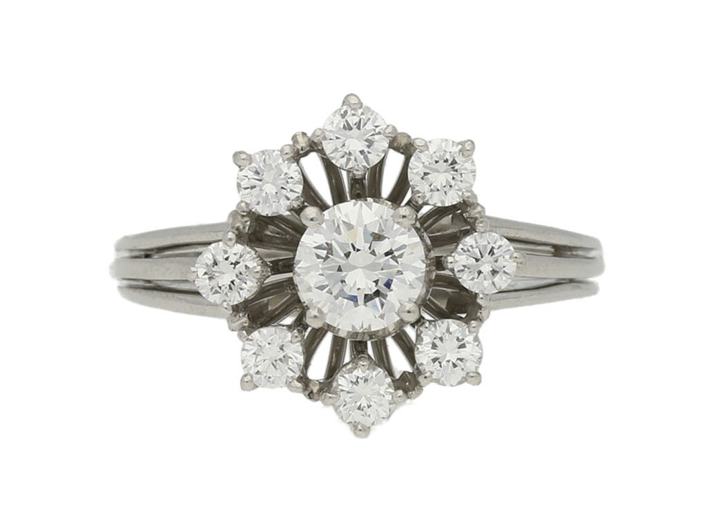 front view Oscar Heyman Brothers diamond cluster ring, circa 1960s.