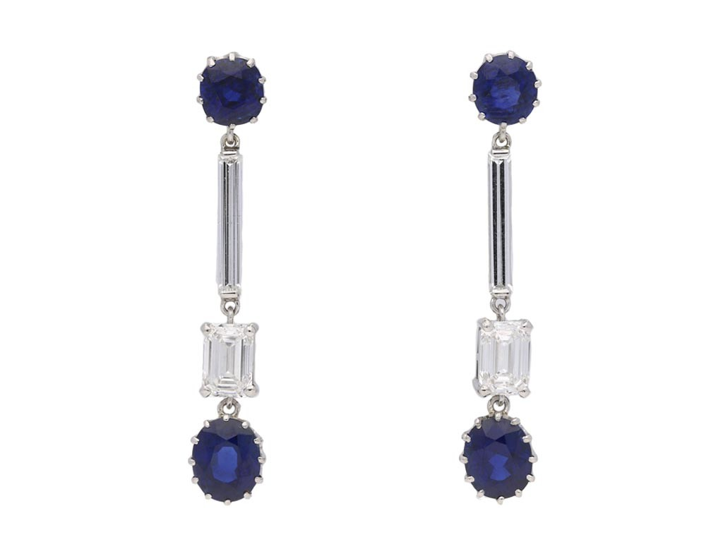 Art Deco Burmese sapphire diamond earrings berganza hatton garden