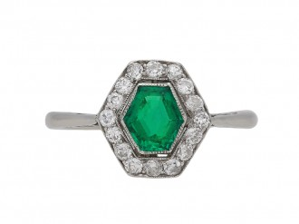 Emerald diamond cluster engagement ring berganza hatton garden