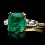 Colombian emerald and diamond ring, English, circa 1950s.