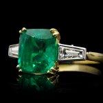 Colombian emerald and diamond ring, English, circa 1950s.