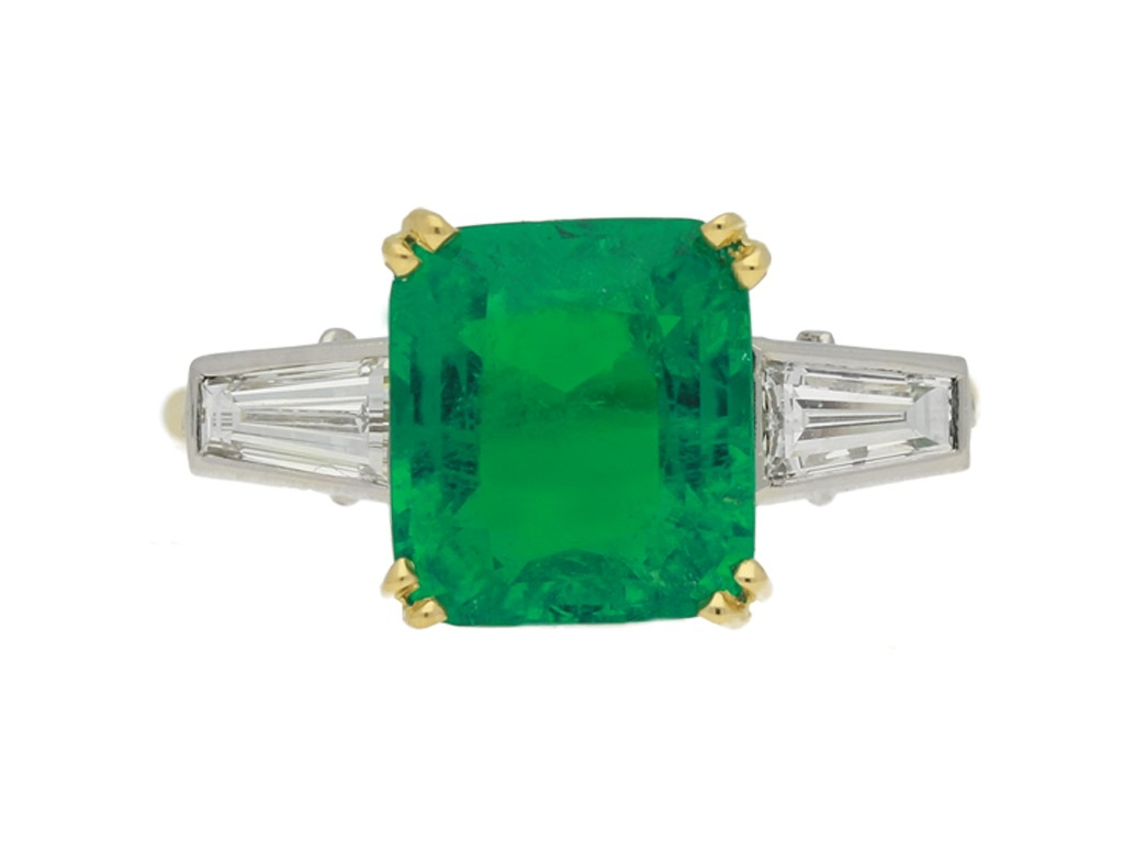 front view Vintage emerald and diamond ring, circa 1950s.