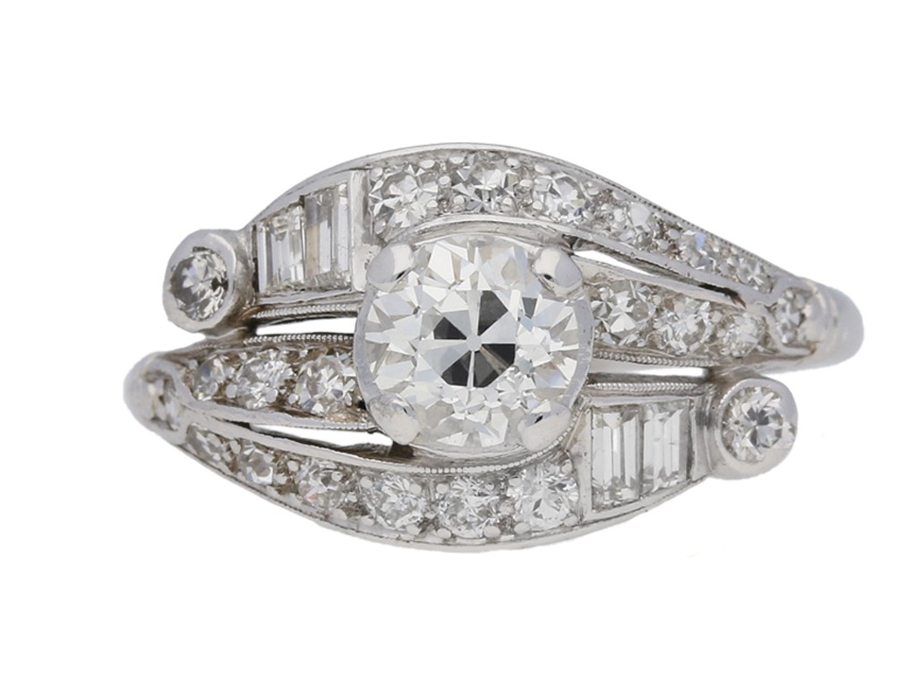 front view Diamond cluster engagement ring, American, circa 1930.