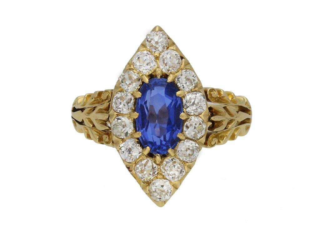Ceylon sapphire diamond cluster ring hatton garden berganza