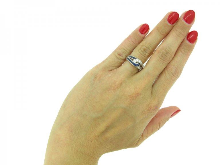 J. E. Caldwell sapphire and diamond ring, American, circa 1960s.