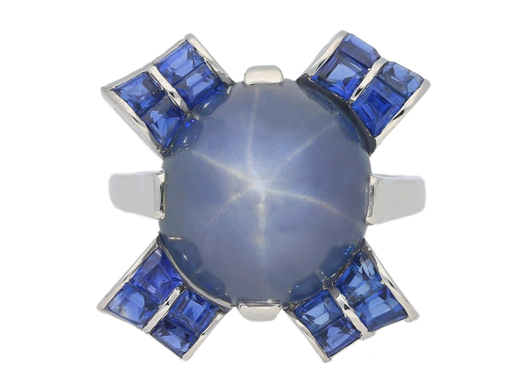 front view Oscar Heyman Brothers star sapphire ring, circa 1942.