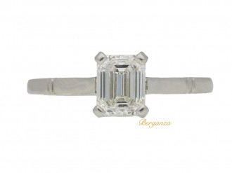 front view Solitaire diamond ring & diamond set band