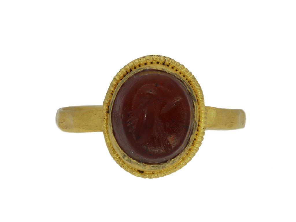 Ancient Roman gold ring with helmet intaglio hatton garden
