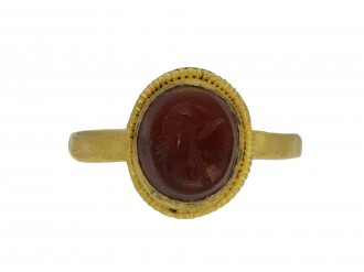 Ancient Roman gold ring with helmet intaglio hatton garden