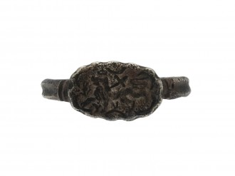 Medieval silver ring with Agnus Dei berganza hatton garden