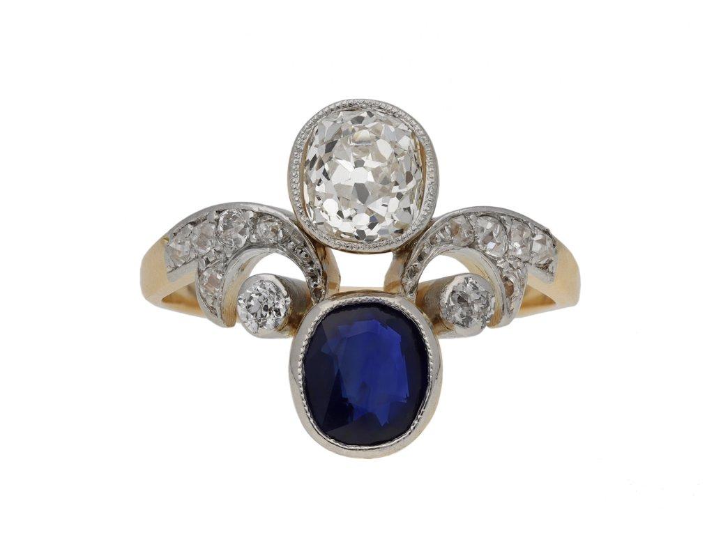 Antique sapphire diamond engagement ring berganza hatton garden