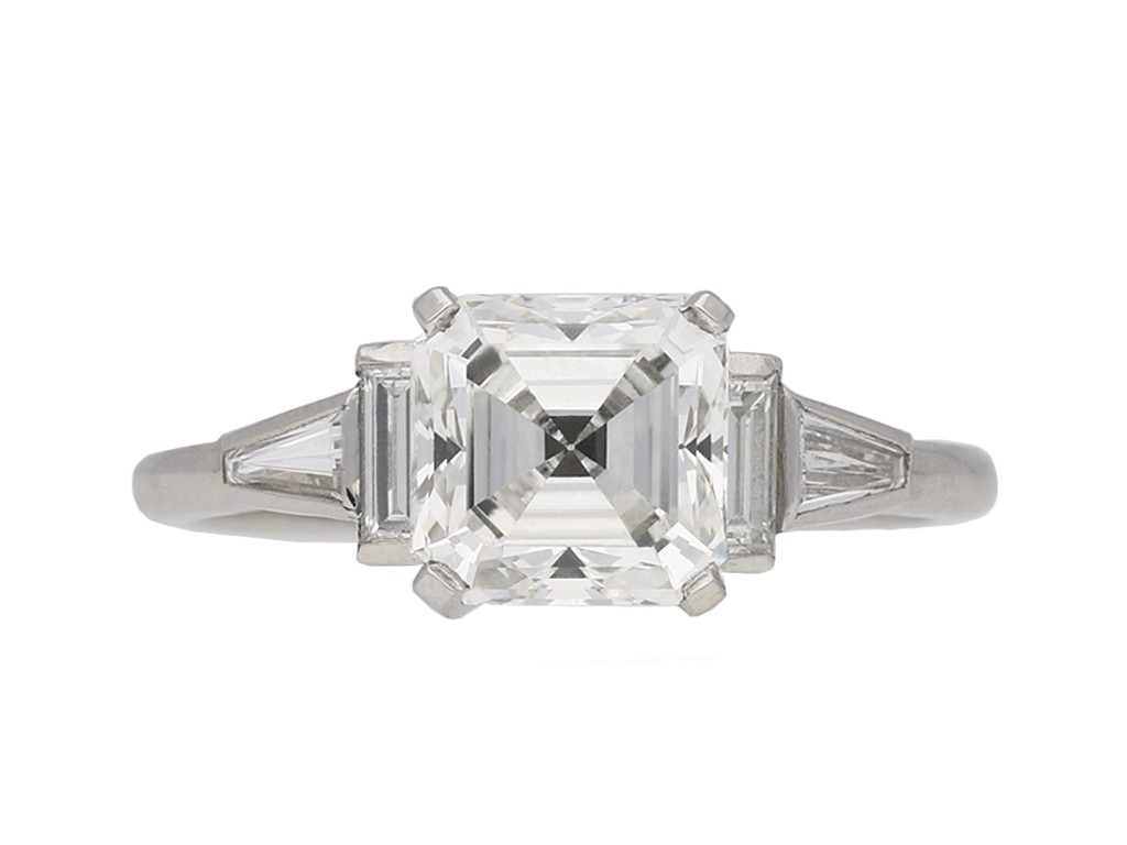 Solitaire asscher cut diamond ring berganza hatton garden