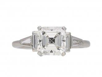 Solitaire asscher cut diamond ring berganza hatton garden