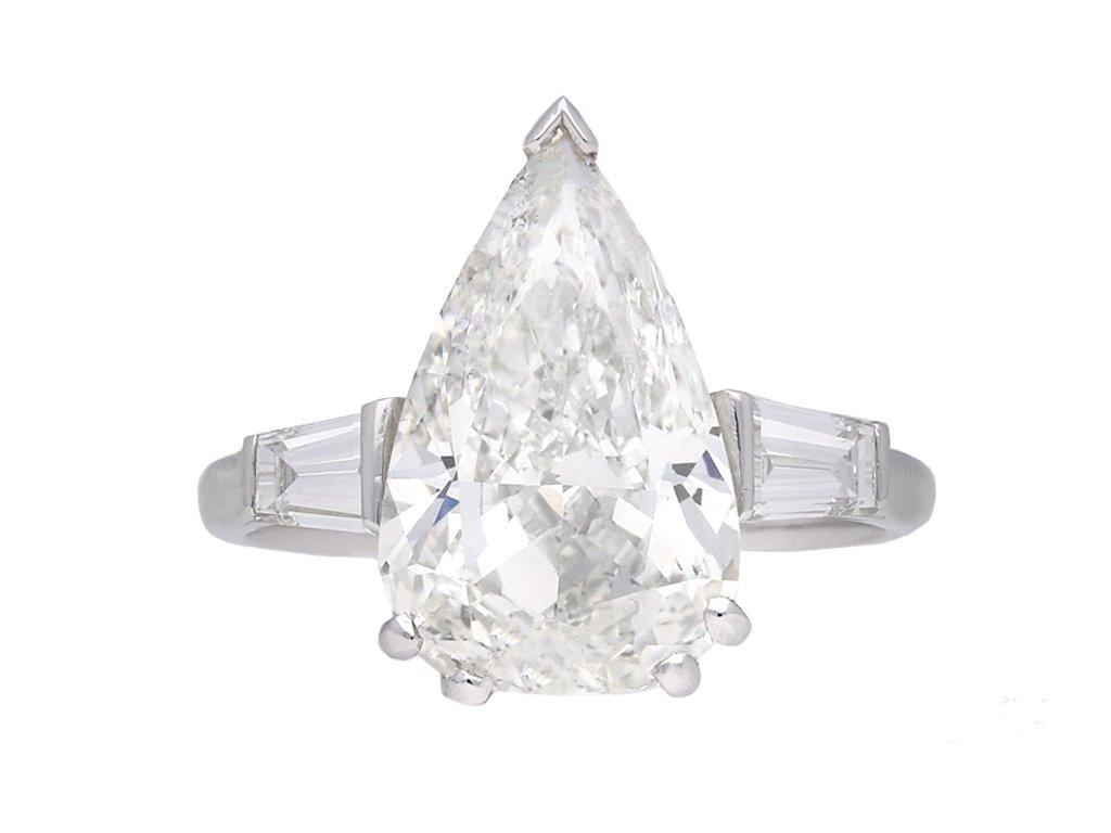 5.01 carat drop shape diamond ring berganza hatton garden