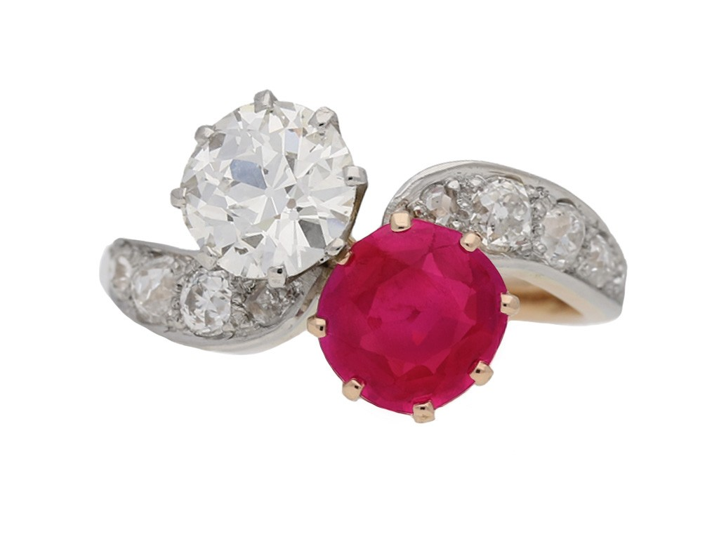 front view Antique ruby diamond cross over ring berganza hatton garden