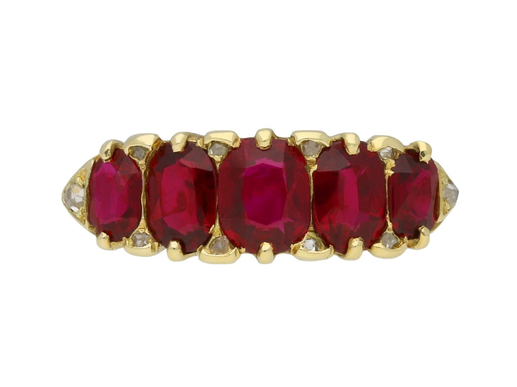 Antique ruby five stone ring berganza hatton garden