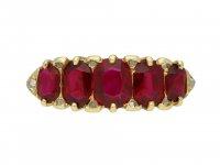 Antique ruby five stone ring berganza hatton garden