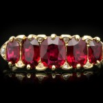 Burmese ruby five stone ring, English, circa 1890.