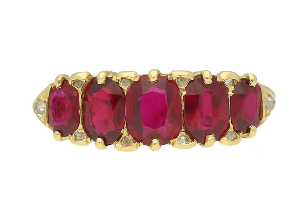 front view Antique ruby five stone ring, English, circa 1890.