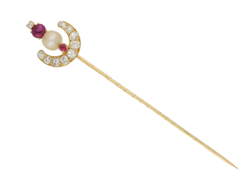 front view Antique natural pearl, ruby and diamond pin, circa 1900.