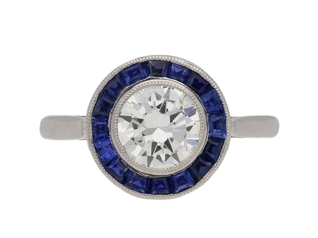 front view  Diamond and sapphire target ring, English, circa 1915. berganza hatton garden