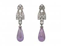 Art Deco amethyst diamond drop earrings berganza hatton garden