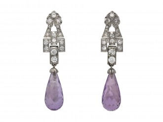Art Deco amethyst diamond drop earrings berganza hatton garden