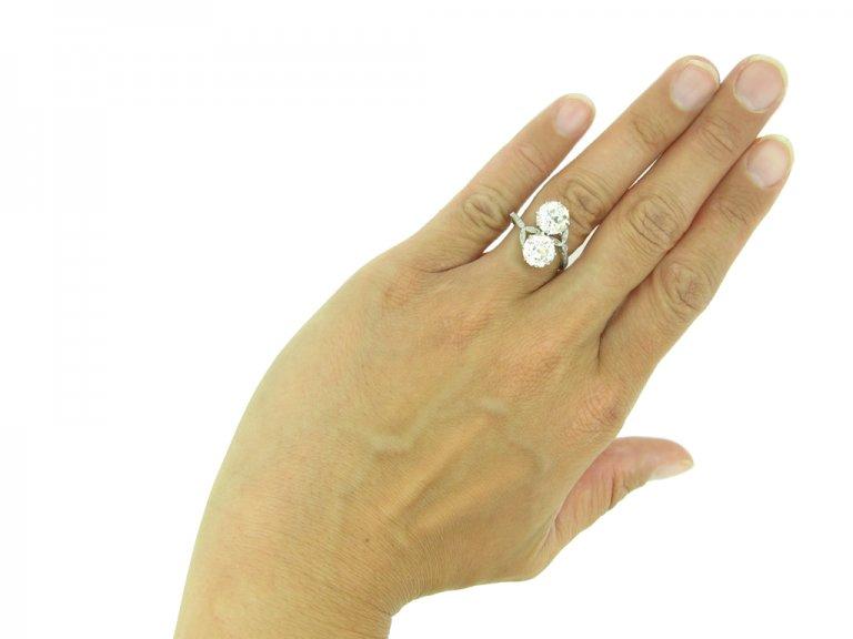 Antique diamond two stone engagement ring berganza hatton garden