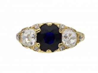 Antique sapphire diamond three stone ring berganza hatton garden