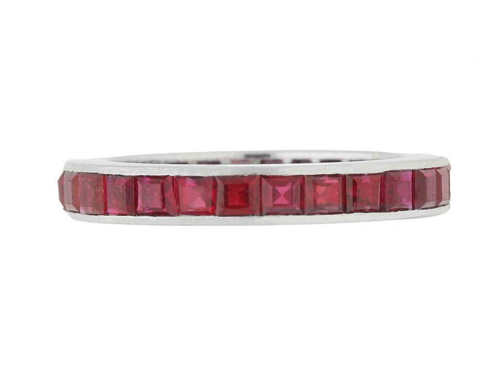 front view Ruby eternity ring, circa 1930s.