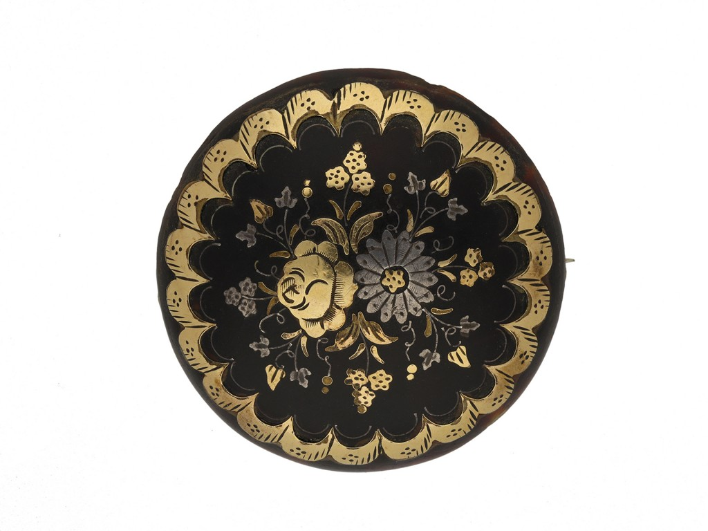 Antique piqué floral brooch berganza hatton garden