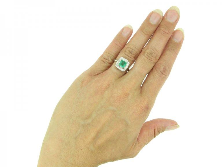 Antique emerald and diamond cluster ring, circa 1915.