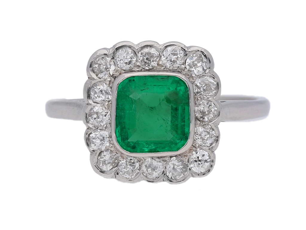 front view Antique emerald and diamond cluster ring berganza hatton garden