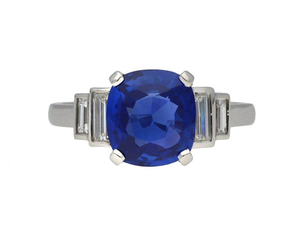 Art Deco Ceylon sapphire and diamond ring berganza hatton garden