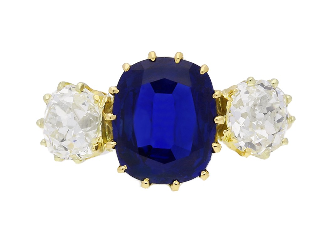 front view Antique sapphire and diamond three stone engagement ring, circa 1900.