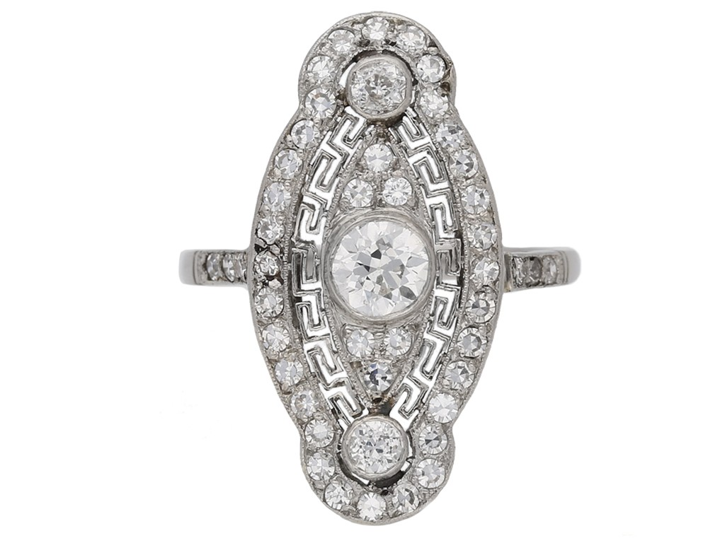 front view Belle Epoque diamond cluster ring, circa 1905. hatton garden berganza