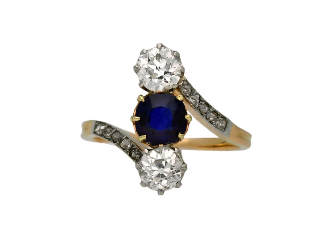 Edwardian sapphire and diamond three stone berganza hatton garden
