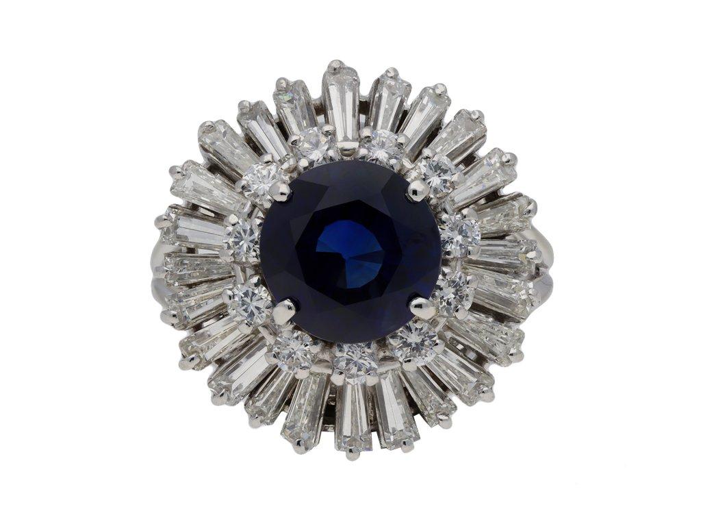 sapphire diamond ballerina cluster ring berganza hatton garden