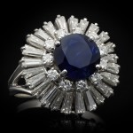 Vintage sapphire and diamond ballerina cluster ring, circa 1970.