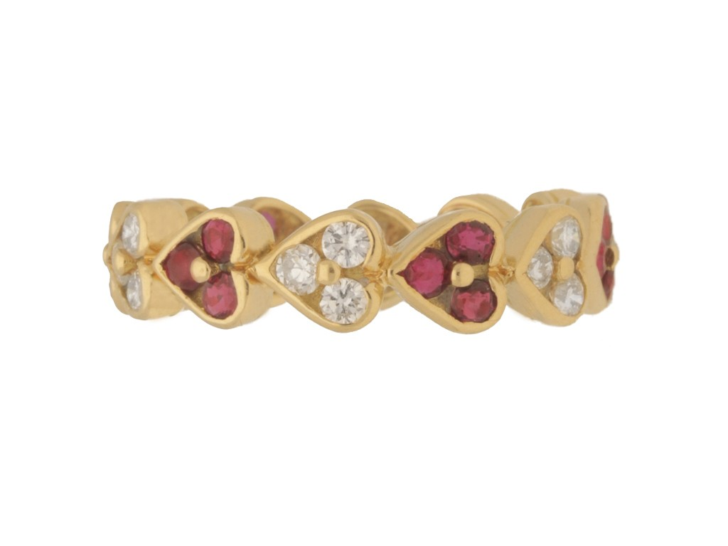 front view Vintage ruby and diamond heart shape eternity ring, Italian, circa 1970s.