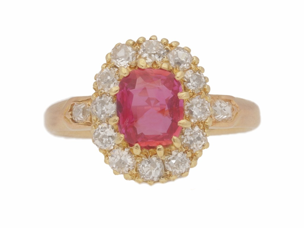 front view Burmese ruby and diamond cluster ring, circa 1890.