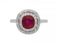 Burmese ruby and diamond cluster ring berganza hatton garden