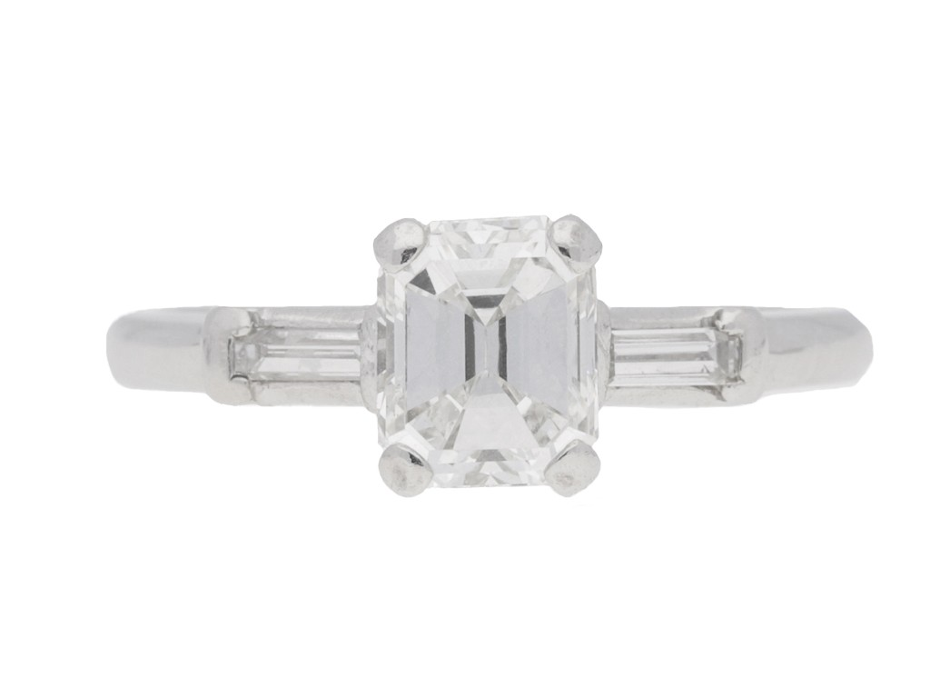 front view Emerald cut diamond ring, American, circa 1950.