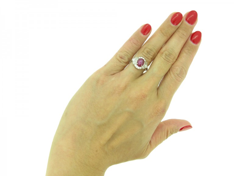 Star ruby fancy diamond cluster ring, circa 1935.